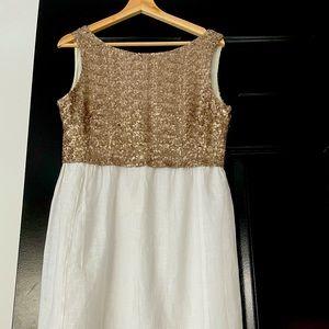 Zyga White and Sequins Linen Dress
